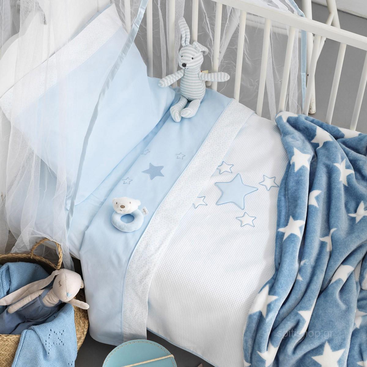 Κουβέρτα Πικέ Κούνιας Palamaiki Baby Joia 356 Ciel