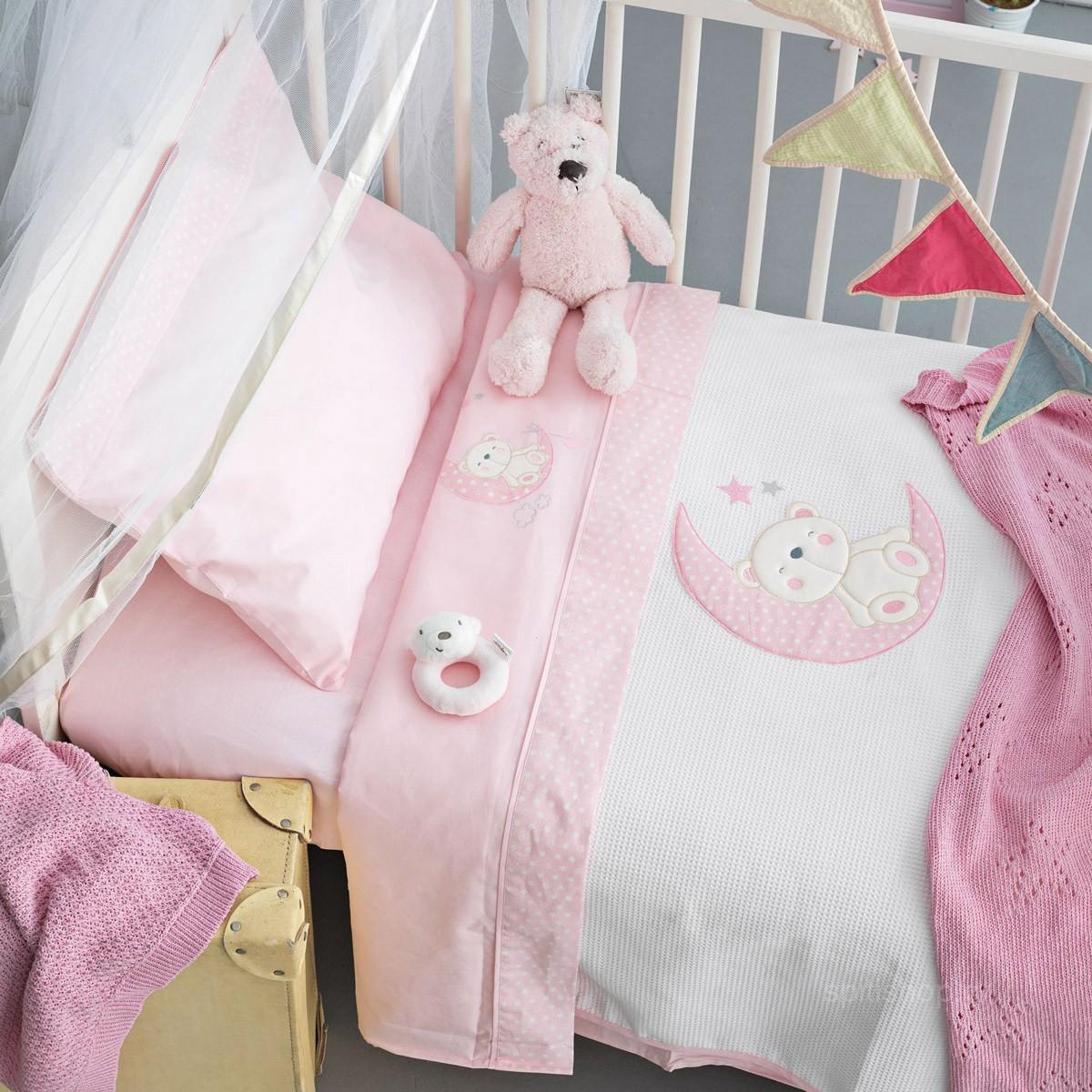 Σεντόνια Κούνιας (Σετ) Palamaiki Baby Joia 465 Pink