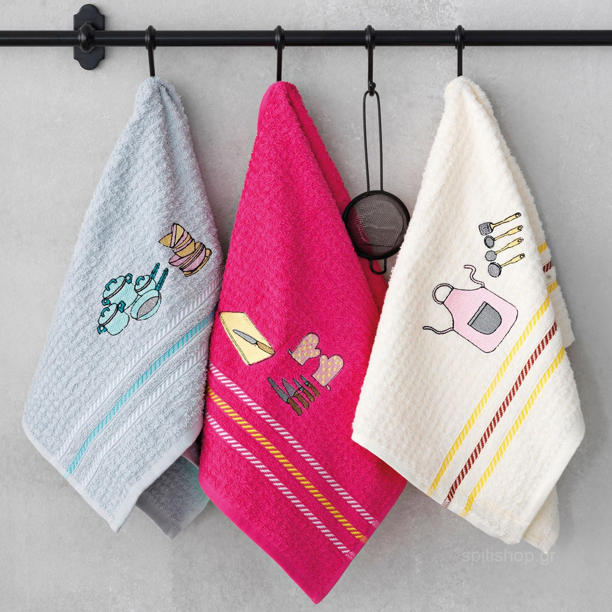Πετσέτες Κουζίνας (Σετ 3τμχ) Palamaiki Festozi Square home   κουζίνα   τραπεζαρία   πετσέτες κουζίνας