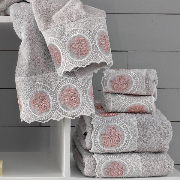 Πετσέτες Μπάνιου (Σετ 3τμχ) Palamaiki Petek Grey