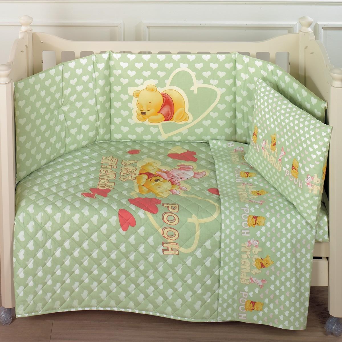 Σετ Κούνιας 5τμχ Palamaiki Baby Disney Copril Cuori Green
