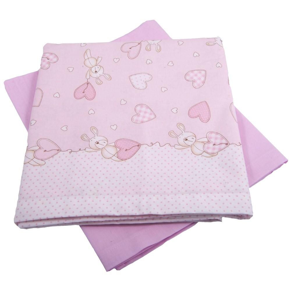 Σεντόνια Λίκνου (Σετ) Κόσμος Του Μωρού 0232 Hearts Ροζ