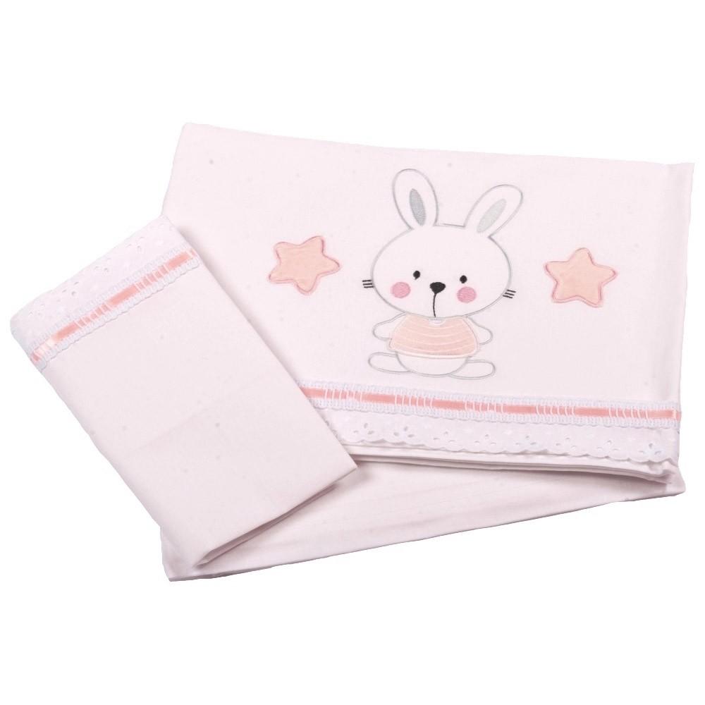Σεντόνια Κούνιας (Σετ) Κόσμος Του Μωρού 0260 Bunny Ροζ