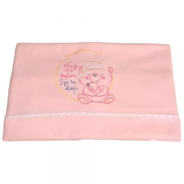 Κουβέρτα Πικέ Κούνιας Κόσμος Του Μωρού 0391 Sleep Ροζ