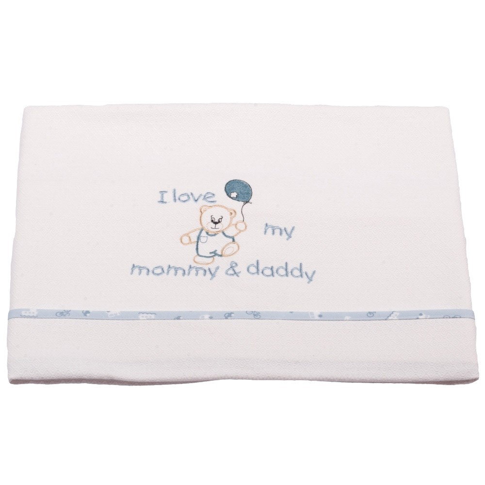 7b410e44bef Spiti Shop Κουβέρτα Πικέ Κούνιας Κόσμος Του Μωρού 0303 Love Σιέλ