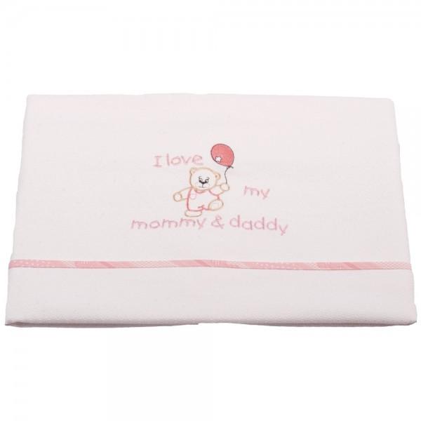 Κουβέρτα Πικέ Κούνιας Κόσμος Του Μωρού 0303 Love Ροζ