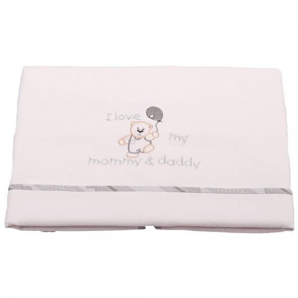 Κουβέρτα Πικέ Κούνιας Κόσμος Του Μωρού 0303 Love Γκρι