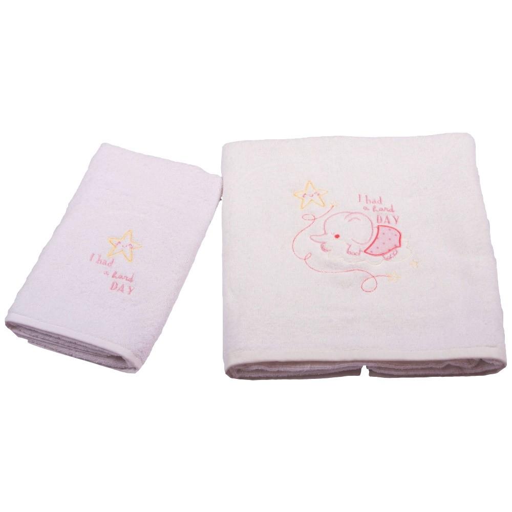 Βρεφικές Πετσέτες (Σετ 2τμχ) Κόσμος Του Μωρού 0575 Hard Day Ροζ