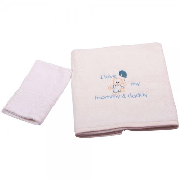Βρεφικές Πετσέτες (Σετ 2τμχ) Κόσμος Του Μωρού 0502 Love Σιέλ