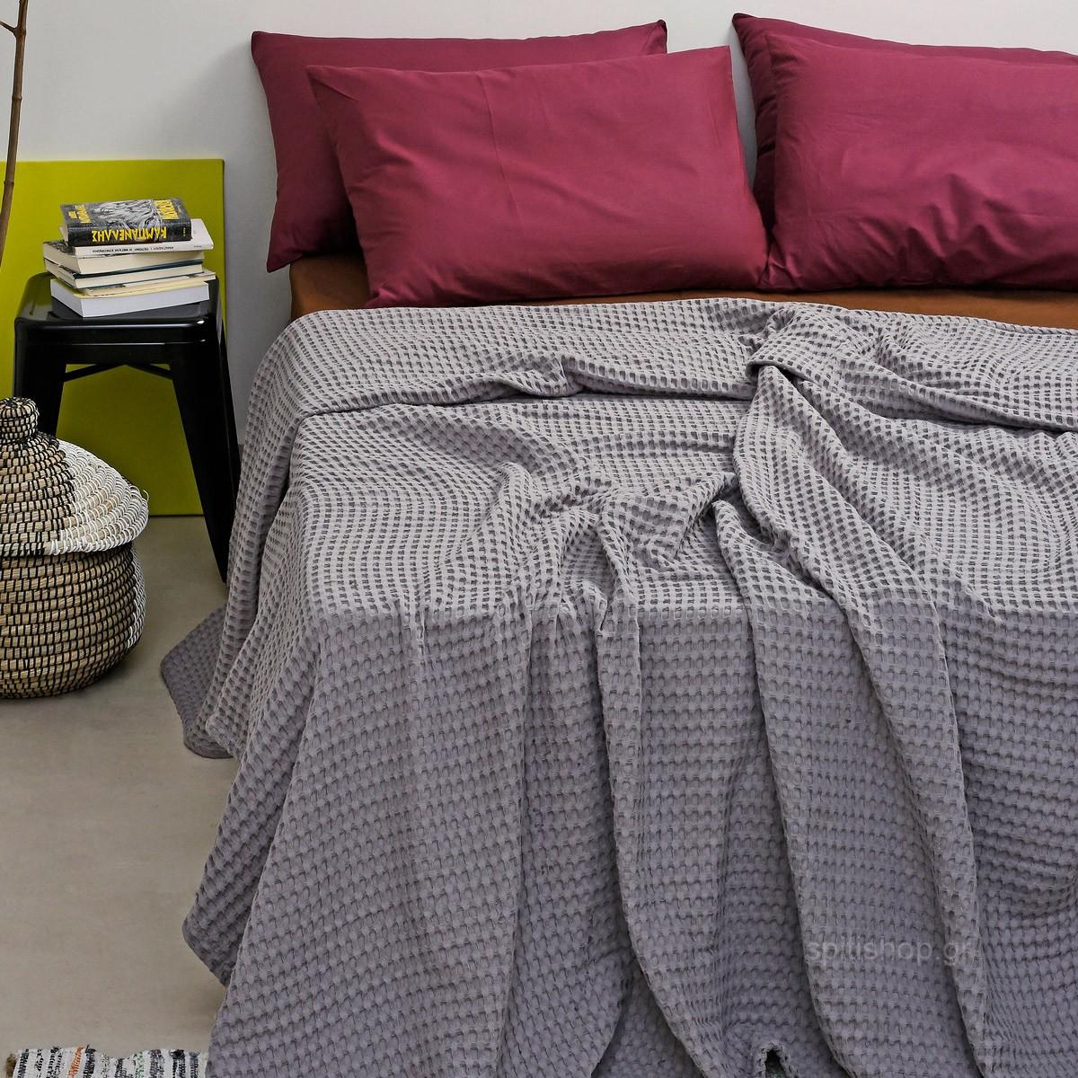 Κουβέρτα Πικέ Υπέρδιπλη Melinen Bristol Dark Grey
