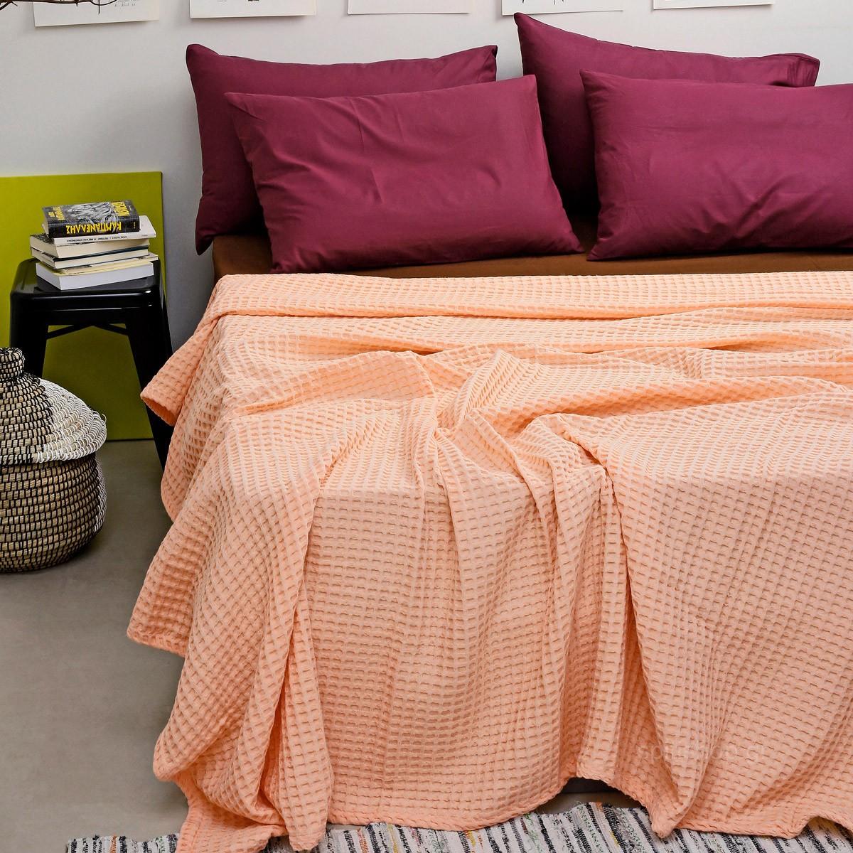 Κουβέρτα Πικέ King Size Melinen Bristol Peach