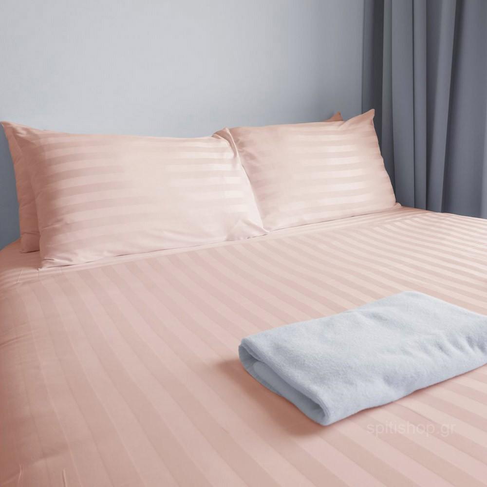 Σεντόνι Υπέρδιπλο Επίπεδο Fennel Satin Stripes PSTR Ροζ