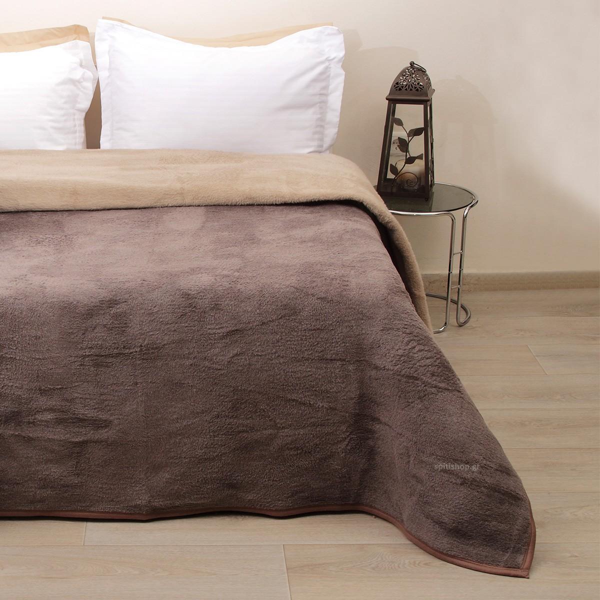 Κουβέρτα Ακρυλική Μονή 2 Όψεων Viopros Καφέ/Μπεζ