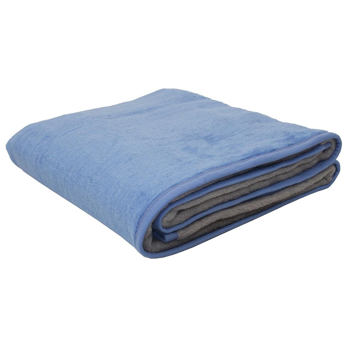 Κουβέρτα Ακρυλική Μονή 2 Όψεων Viopros Σιέλ/Γκρι home   κρεβατοκάμαρα   κουβέρτες   κουβέρτες βελουτέ μονές