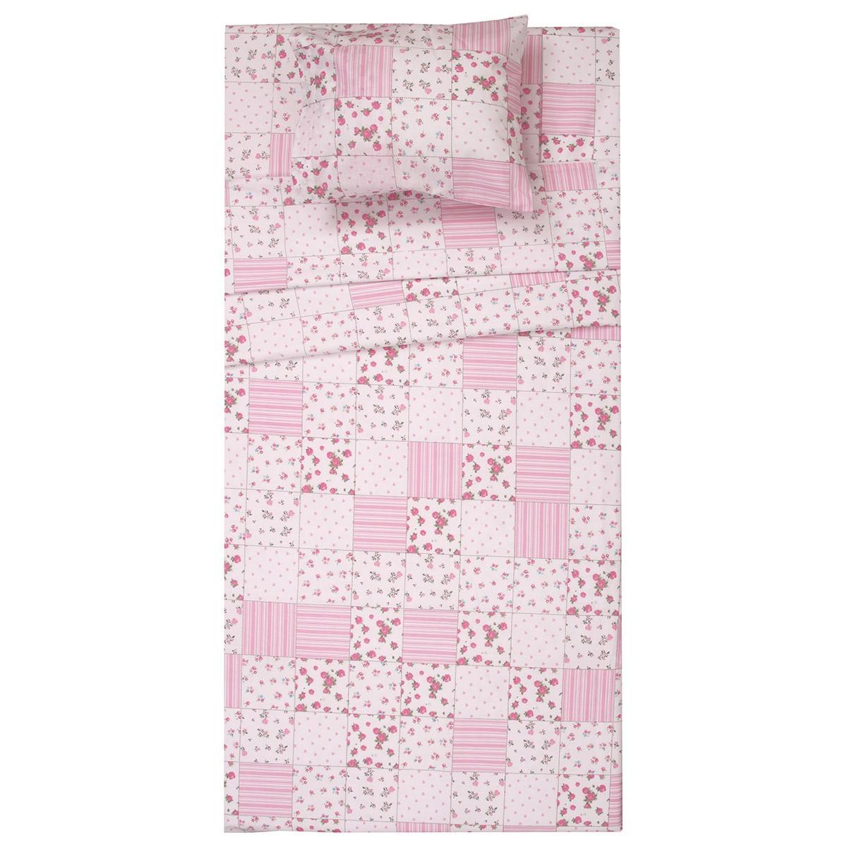 Κουβερλί Κούνιας (Σετ) Viopros Baby Cotton Ρόουζ