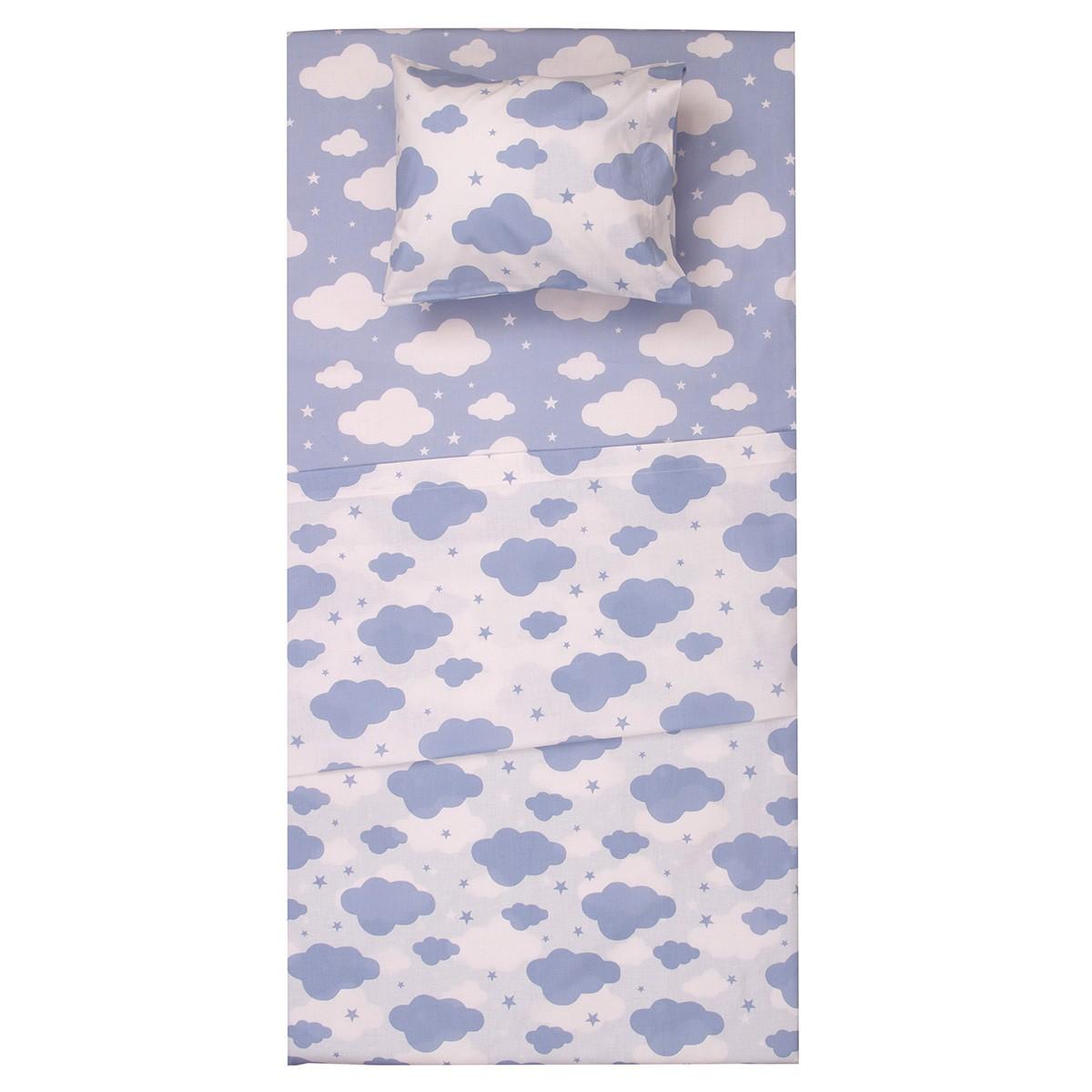 Σεντόνια Λίκνου (Σετ) Viopros Baby Συννεφάκια Μπλε