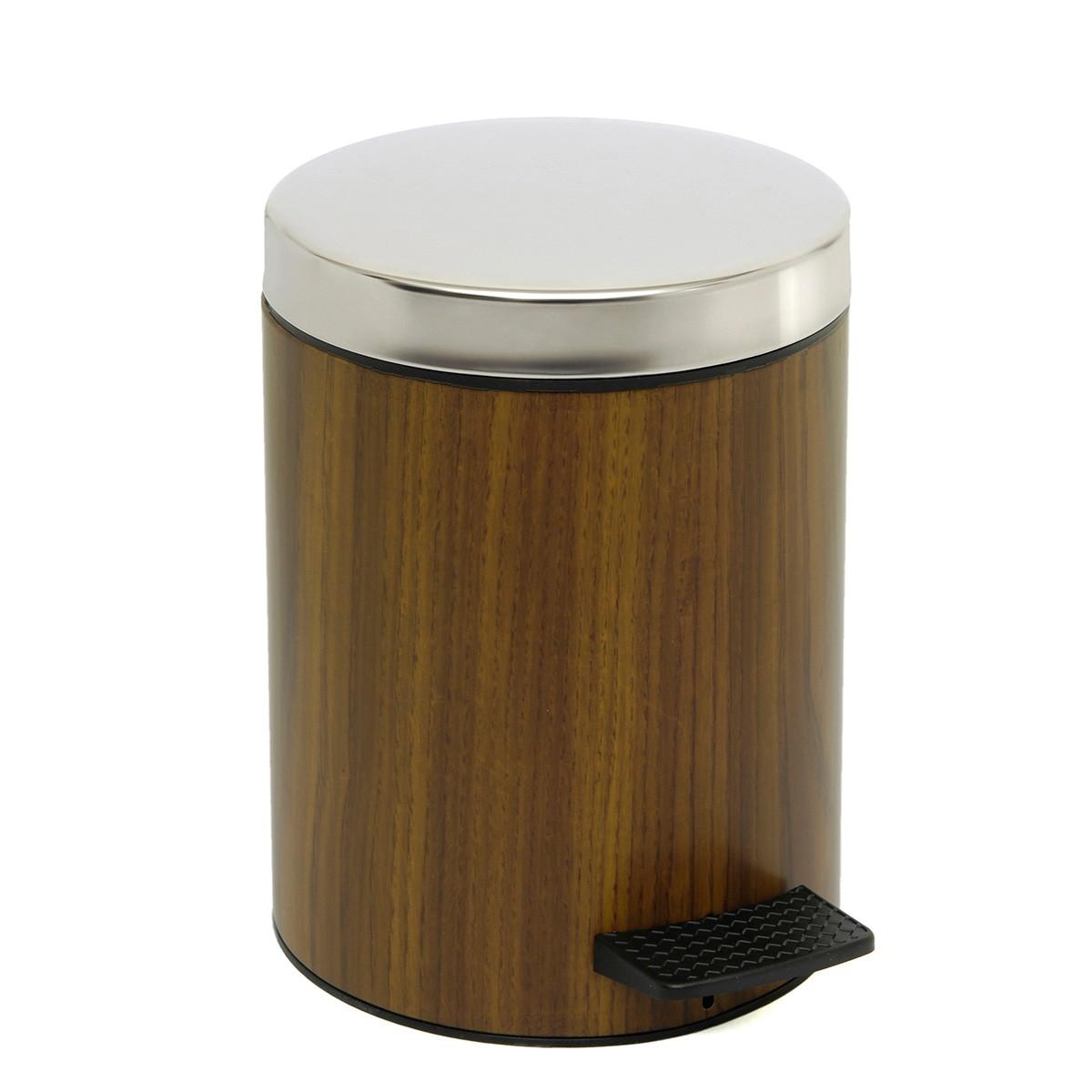 Κάδος Απορριμμάτων (20x28) PamCo 5Lit 227 Wood/Chrome home   μπάνιο   κάδοι απορριμμάτων