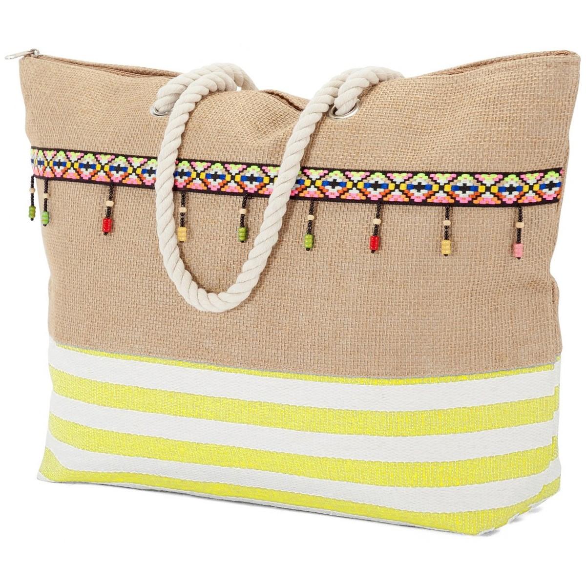 Ψάθινη Τσάντα Παραλίας Benzi 5211 Yellow home   θαλάσσης   τσάντες θαλάσσης