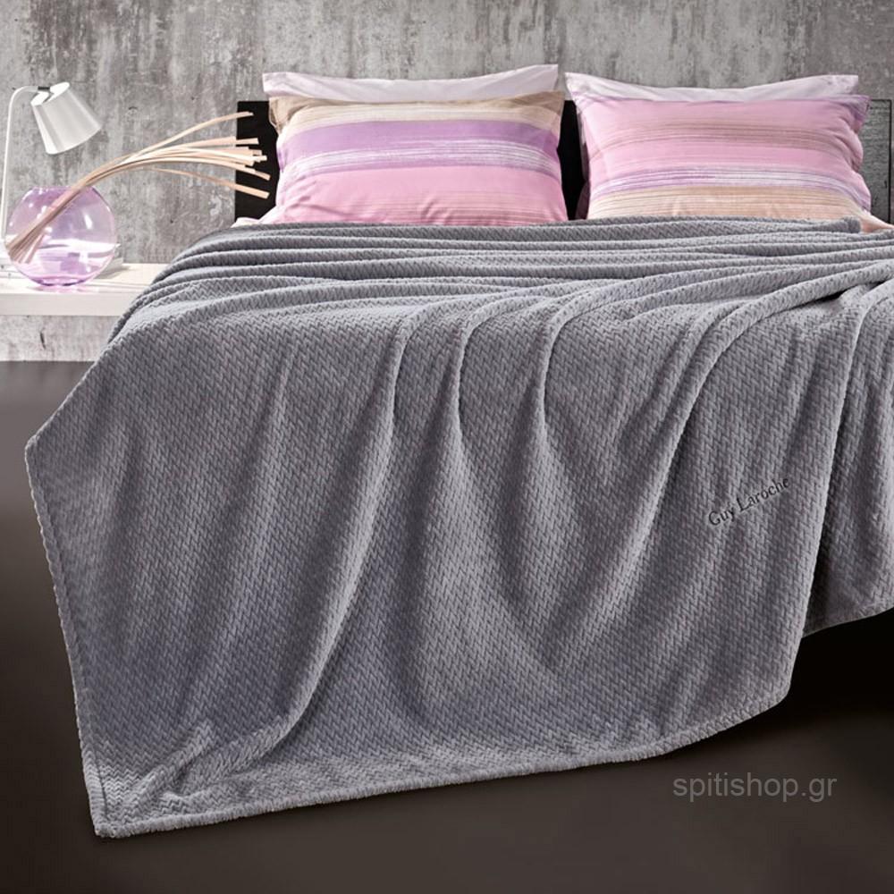 Κουβέρτα Fleece Υπέρδιπλη Guy Laroche Rombus Silver