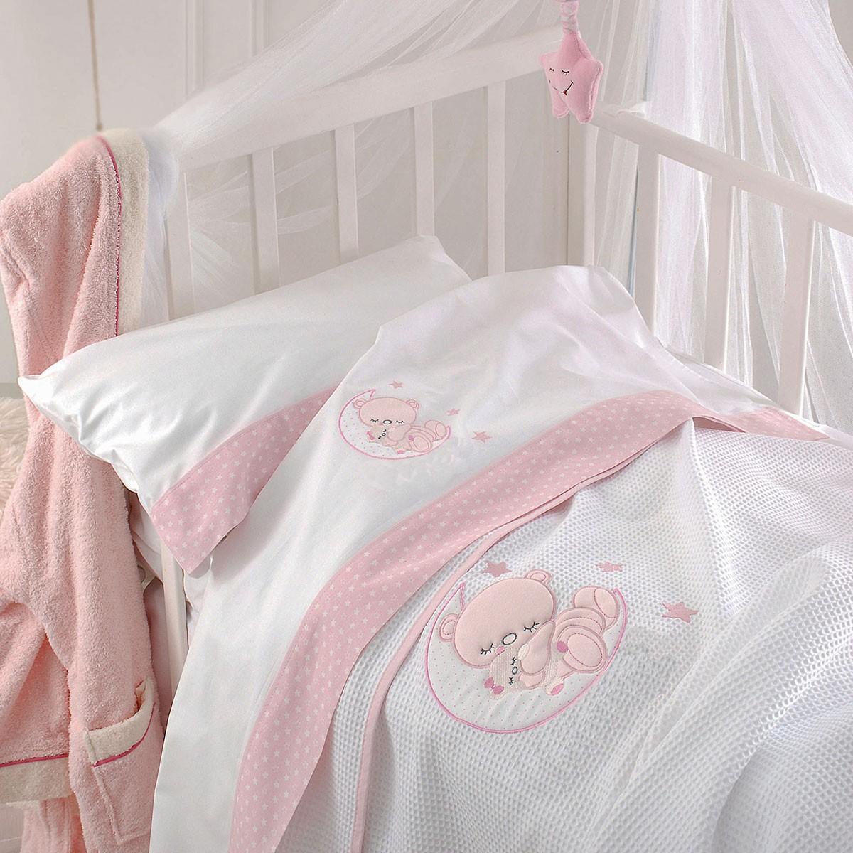 Σεντόνια Κούνιας (Σετ) Rythmos Moon Pink