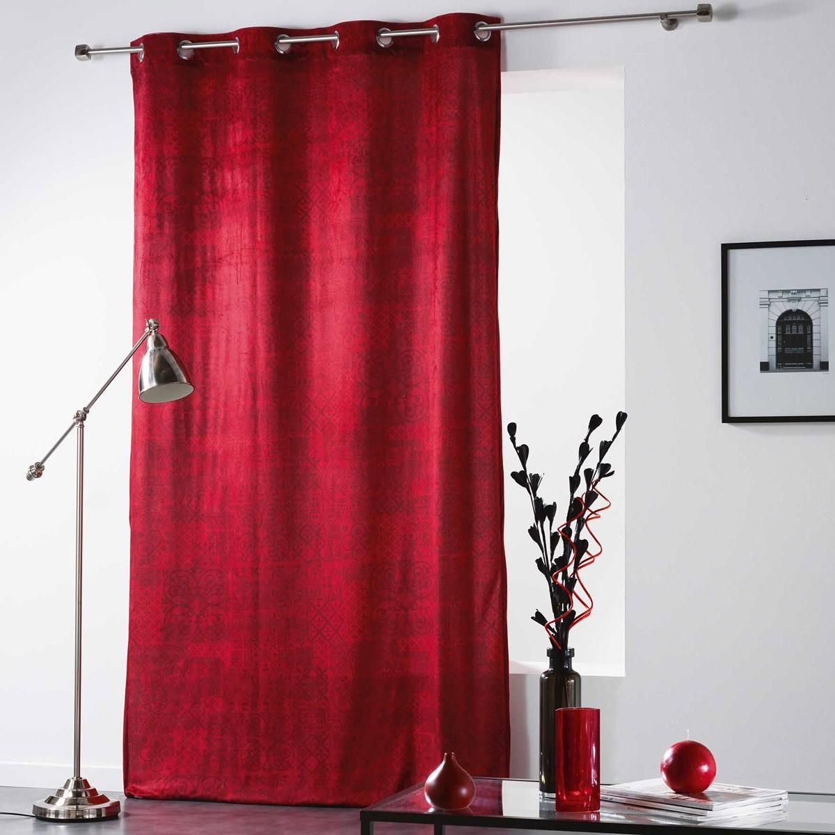 Κουρτίνα Βελουτέ (140×260) Με Τρουκς Verona Rouge 1606762