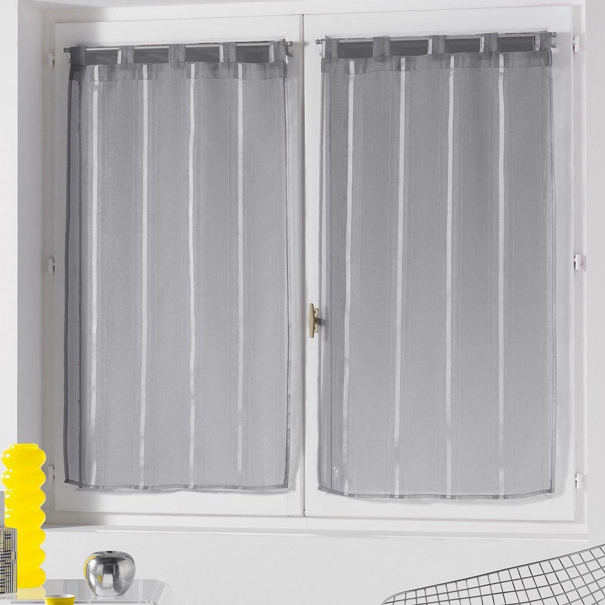 Σετ Κουρτίνες Παραθύρου (60x90) Louane Gris 1624060 home   κουζίνα   τραπεζαρία   κουρτίνες κουζίνας