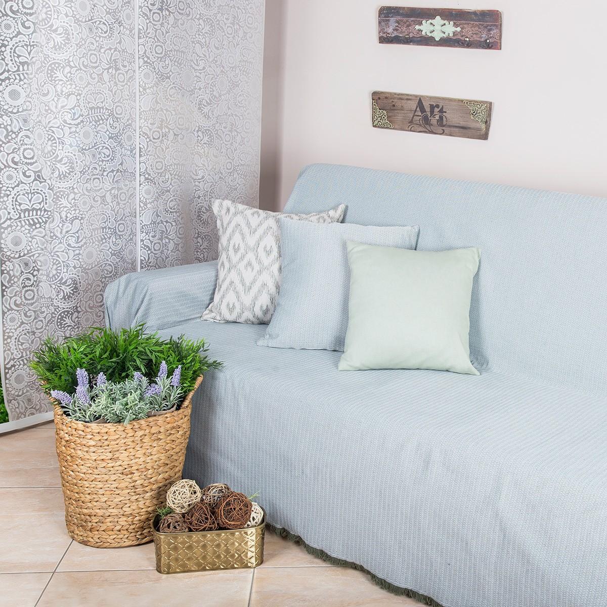 Ριχτάρι Πολυθρόνας (180x180) Loom To Room Chevron Khaki home   σαλόνι   ριχτάρια καναπέ