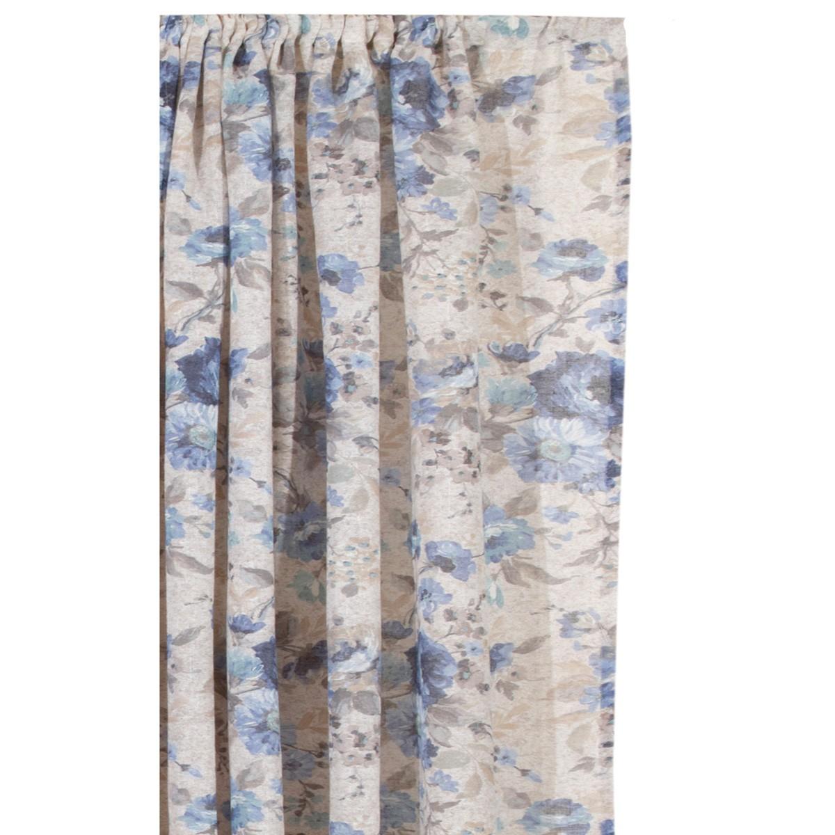 Κουρτίνα (160x270) Με Τρέσα Viopros Πέρυ Μπλε