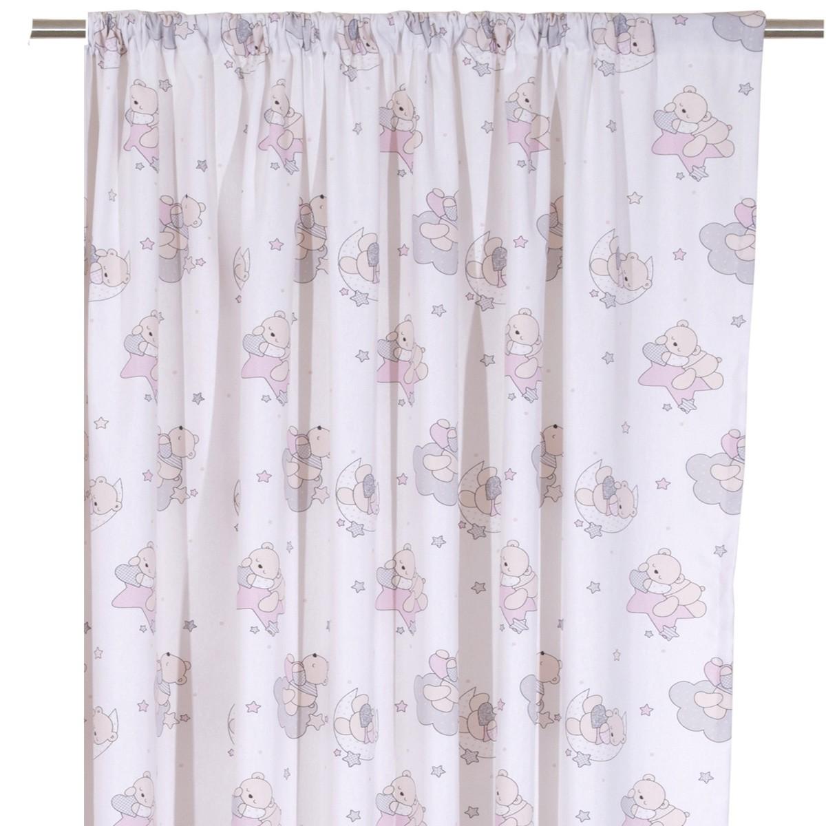 Παιδική Κουρτίνα (160×270) Viopros Curtains Τέντι Ροζ