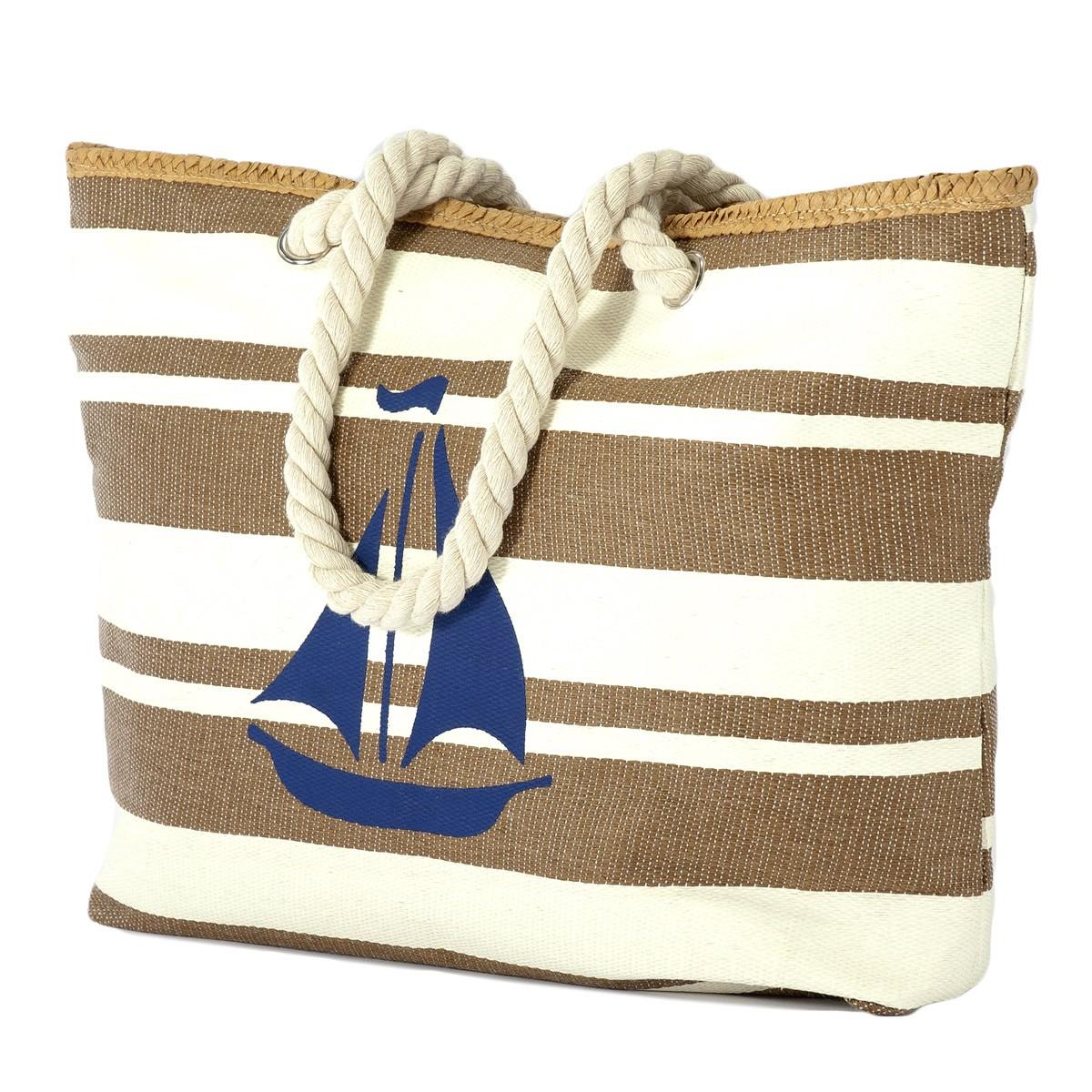 Ψάθινη Τσάντα Παραλίας Benzi 5084 Brown home   θαλάσσης   τσάντες θαλάσσης