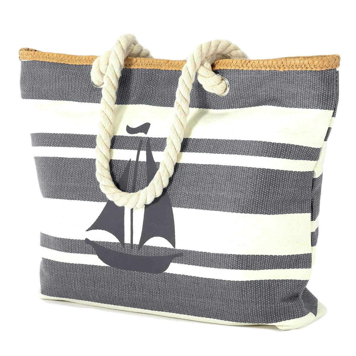 Ψάθινη Τσάντα Παραλίας Benzi 5084 Grey home   θαλάσσης   τσάντες θαλάσσης