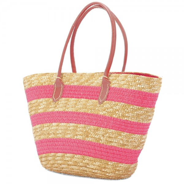 6481ac2d04 Ψάθινη Τσάντα Θαλάσσης Benzi 4643 Pink