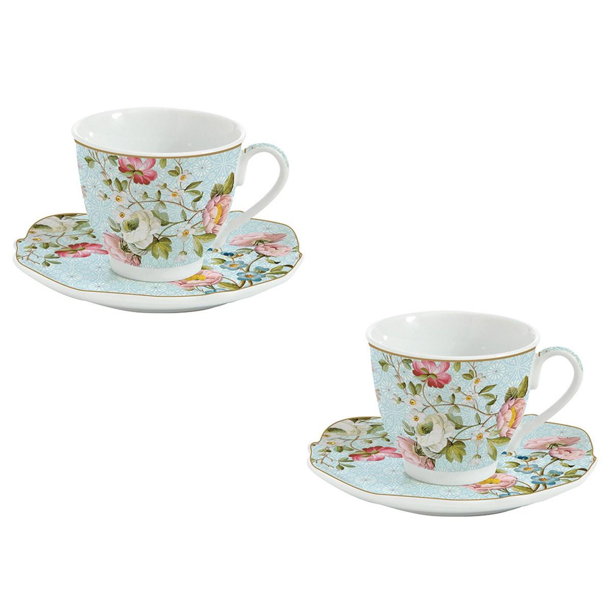 Φλυτζάνια Καφέ + Πιατάκια (Σετ 2τμχ) Marva Spring Festival 1072S