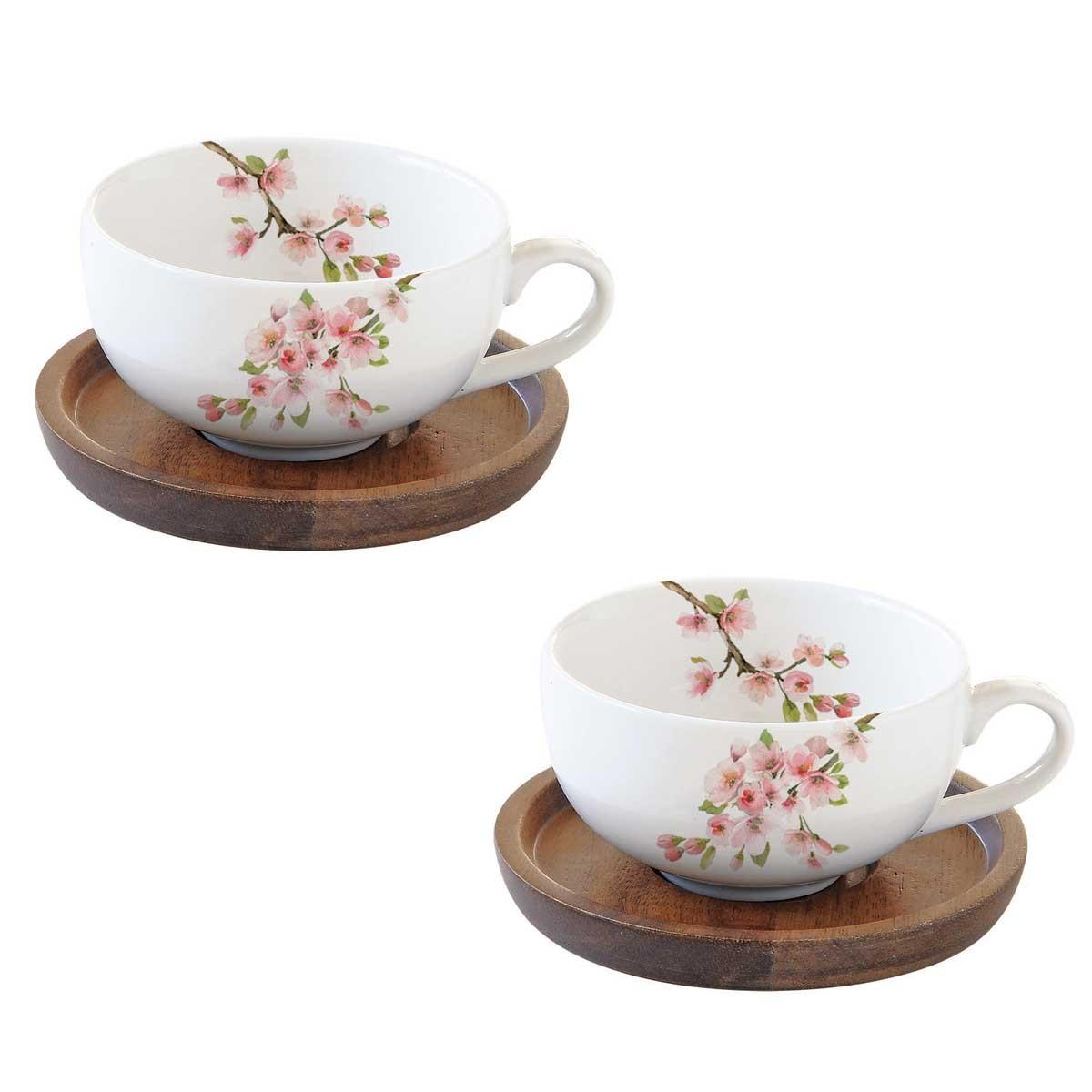 Φλυτζάνια Καφέ + Πιατάκια (Σετ 2τμχ) Marva Sakura 1081SΑΚU