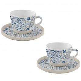 Φλυτζάνια Καφέ + Πιατάκια (Σετ 2τμχ) Marva Casadecor Blue 1656CΑDΒ