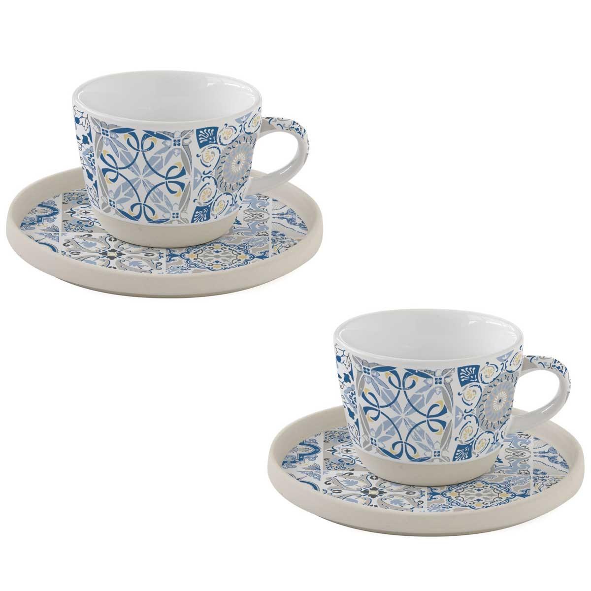 Φλυτζάνια Καφέ + Πιατάκια (Σετ 2τμχ) Marva Casadecor Blue 1656CΑDΒ home   κουζίνα   τραπεζαρία   κούπες   φλυτζάνια