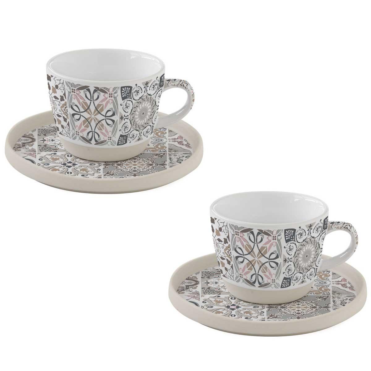Φλυτζάνια Καφέ + Πιατάκια (Σετ 2τμχ) Marva Casadecor Grey 1656CΑDG