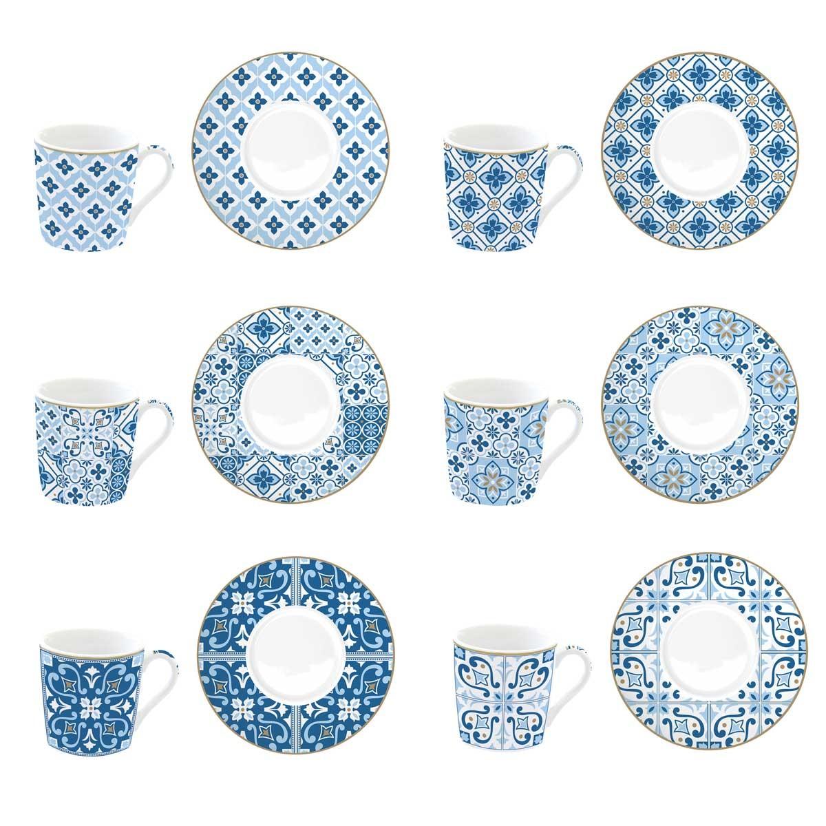 Φλυτζάνια Καφέ + Πιατάκια (Σετ 6τμχ) Marva Tiles Blue 126CΜΤΒ home   κουζίνα   τραπεζαρία   κούπες   φλυτζάνια