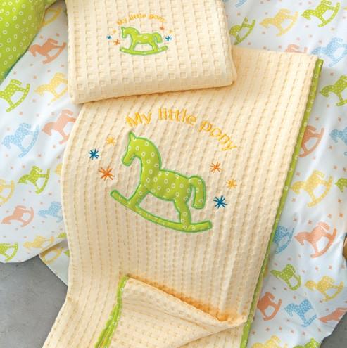 Κουβέρτα Πικέ Αγκαλιάς Nima Pony Green