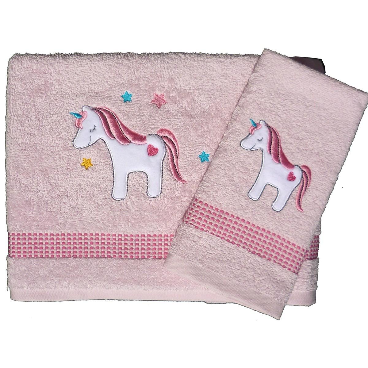 Βρεφικές Πετσέτες (Σετ 2τμχ) Morven Unicorn Pink 1810/04