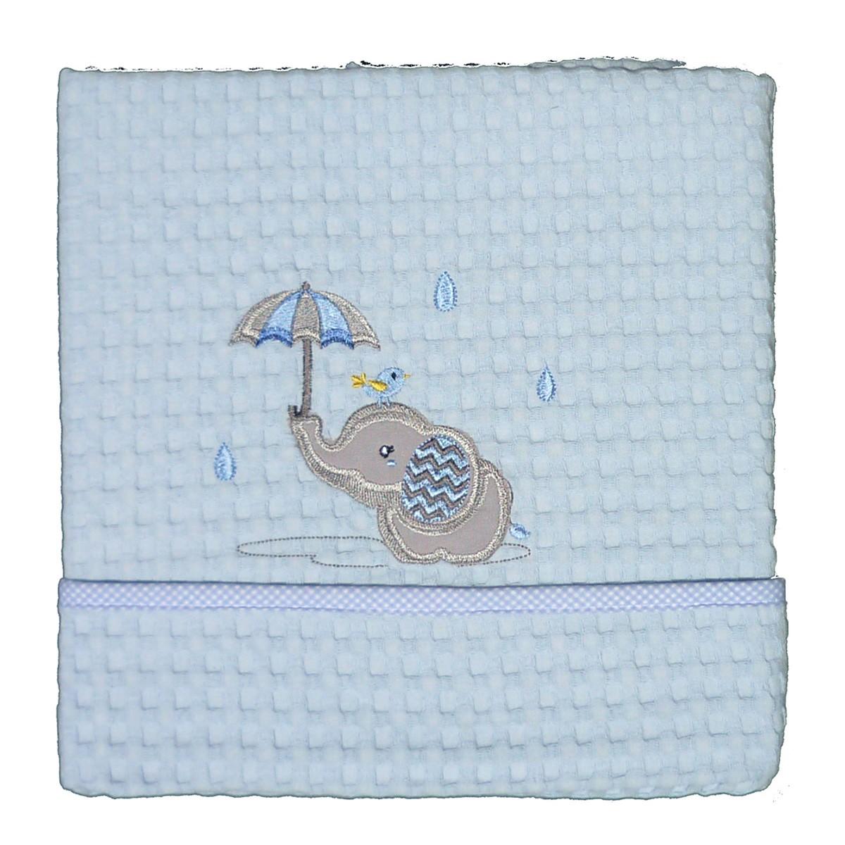 Κουβέρτα Πικέ Αγκαλιάς Morven Rainy Blue 1808/05