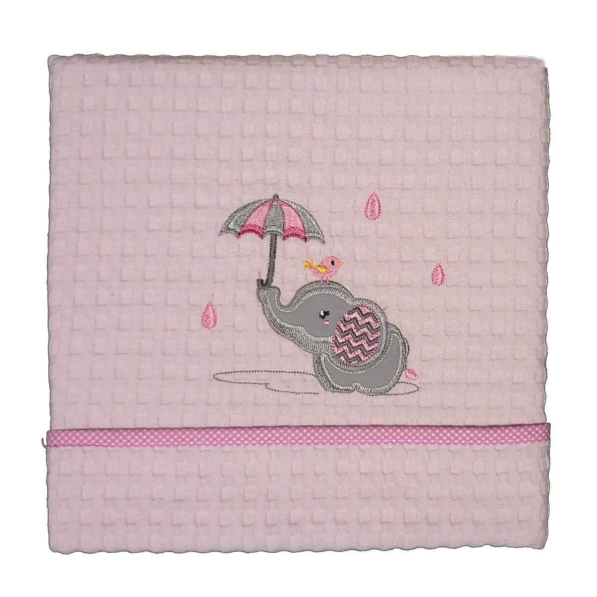 Κουβέρτα Πικέ Κούνιας Morven Rainy Pink 1808/04