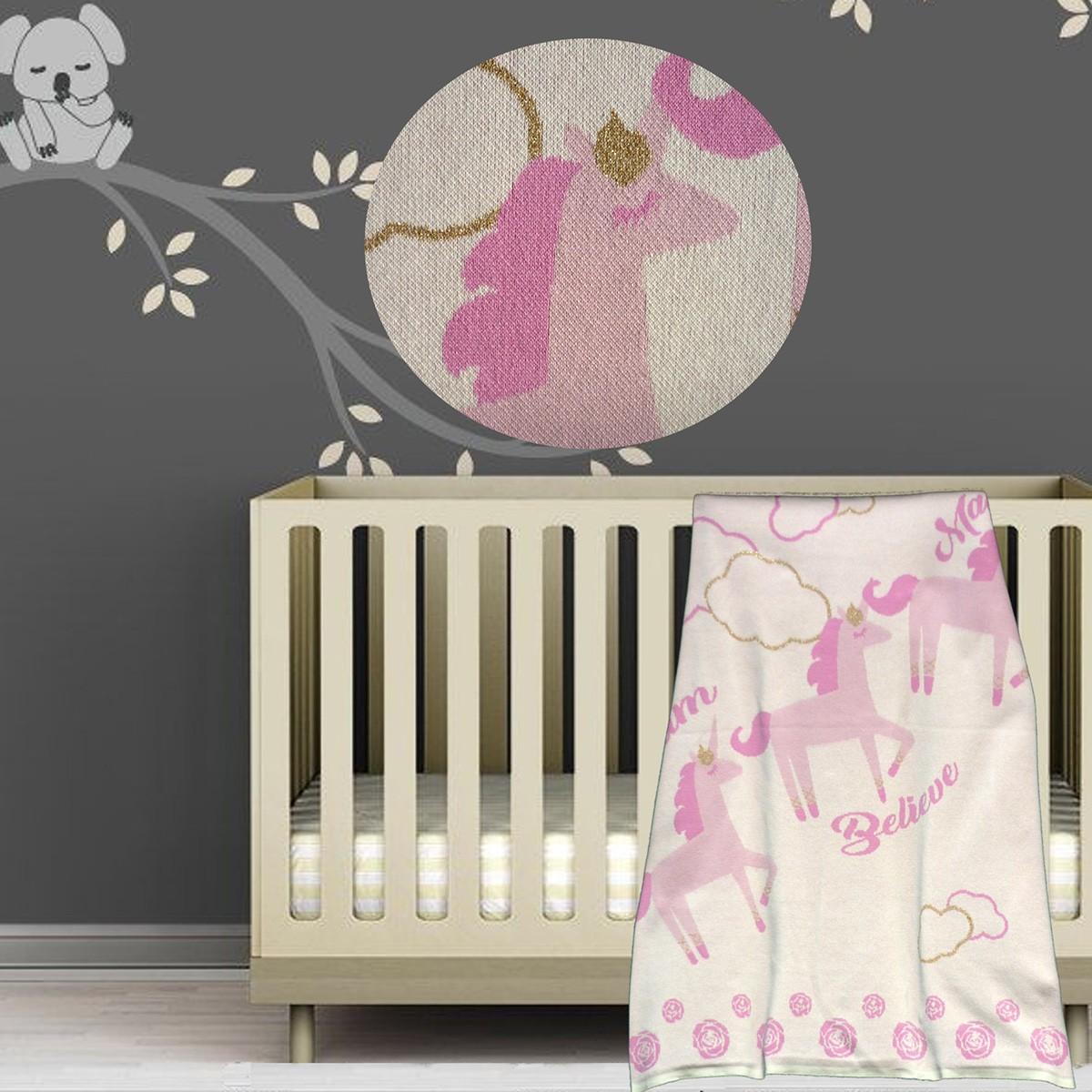 Κουβέρτα Πλεκτή Αγκαλιάς Unicorn Pink 1818