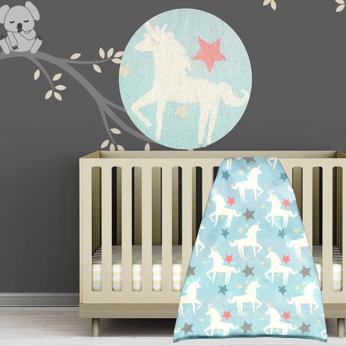 Κουβέρτα Πλεκτή Αγκαλιάς Unicorn Blue 1816