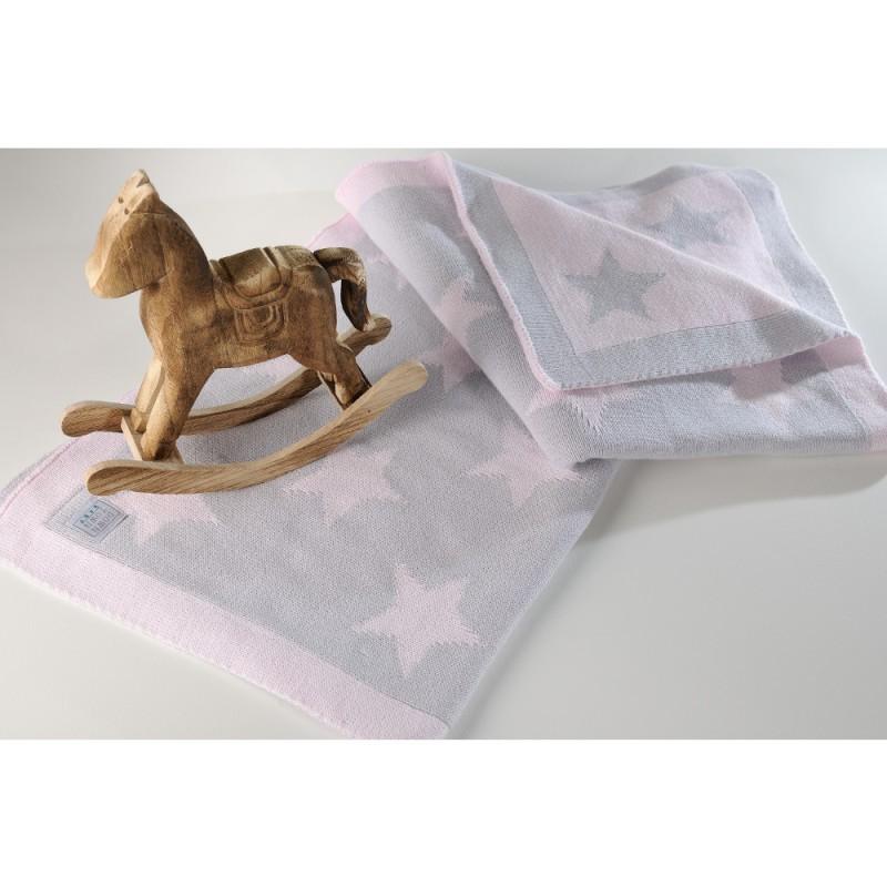 Κουβέρτα Πλεκτή Αγκαλιάς Down Town Imperio 254 Grey/Pink