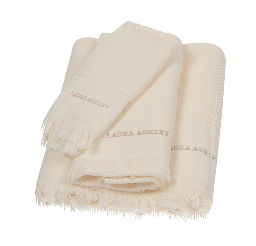 Πετσέτες Μπάνιου (Σετ 3τμχ) Laura Ashley Fringes Cream