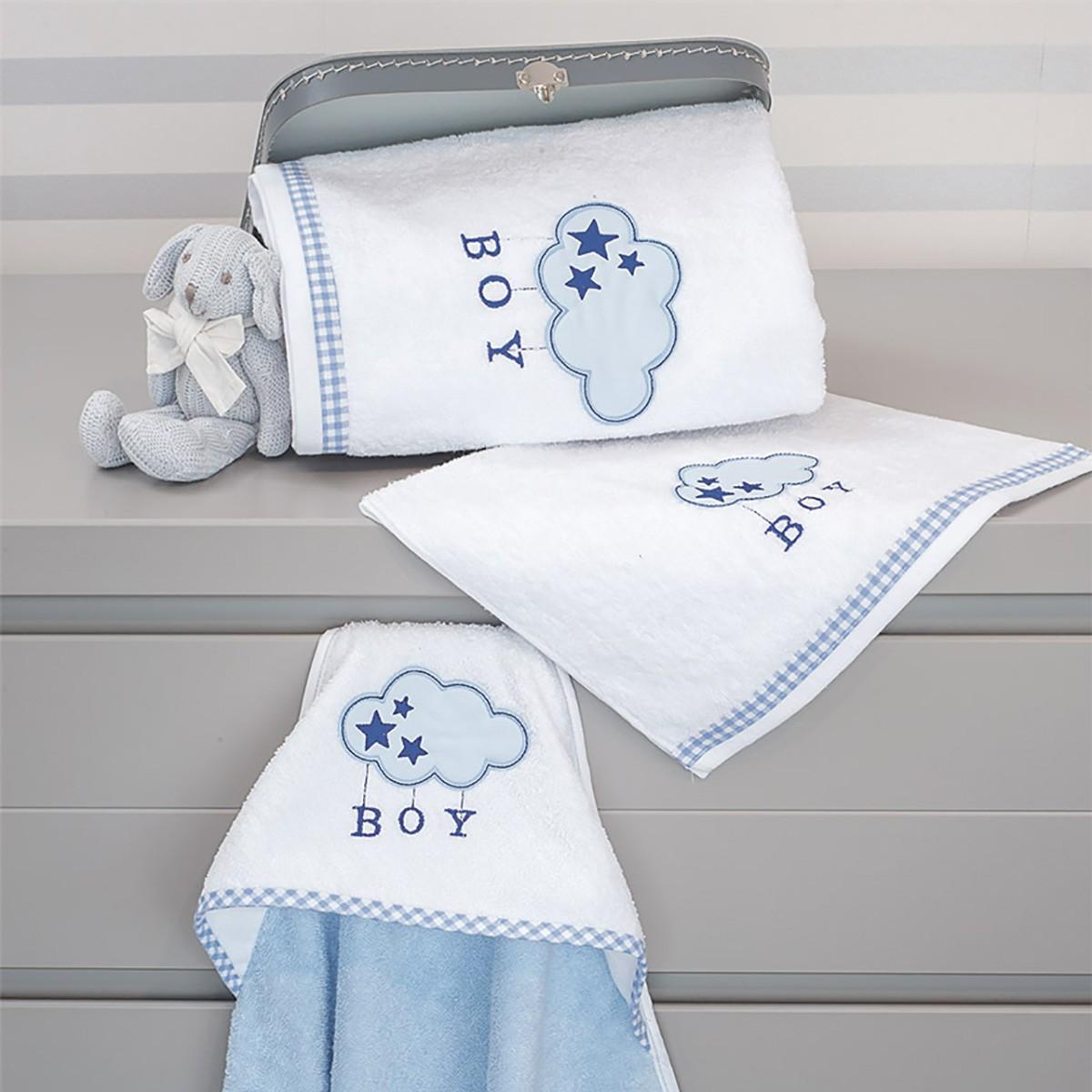 Βρεφικές Πετσέτες (Σετ 2τμχ) Baby Oliver Blue Cloud Des 143