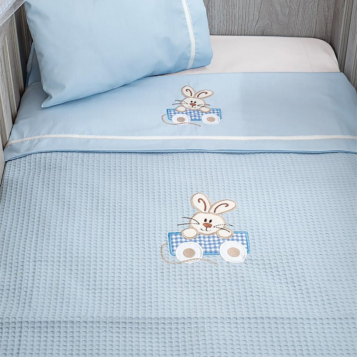 Κουβέρτα Πικέ Κούνιας Baby Oliver Happy Bunny 141