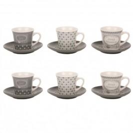 Φλυτζάνι Καφέ + Πιατάκι Marva Grey 797003