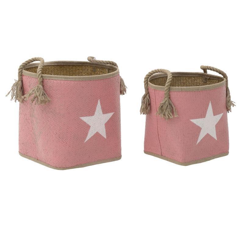 Καλάθια Αποθήκευσης (Σετ 2τμχ) InArt Star Pink 3-70-561-0062 home   παιδικά   παιδική διακόσμηση